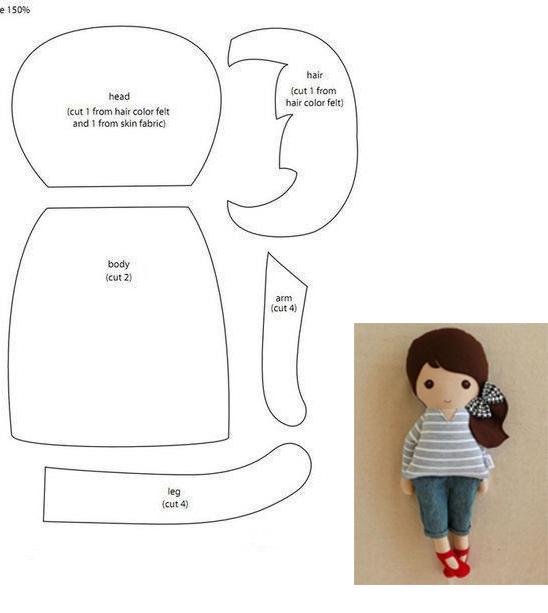 molde boneca menininha