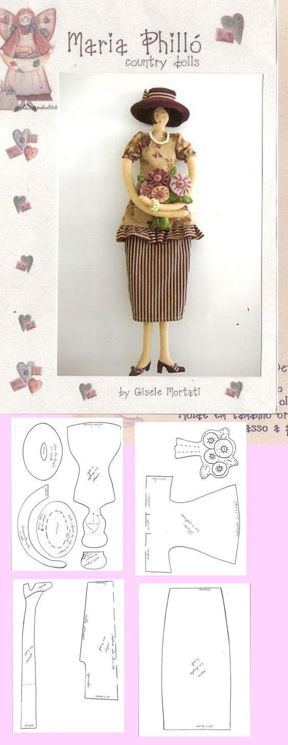 molde de boneca de pano japonesa